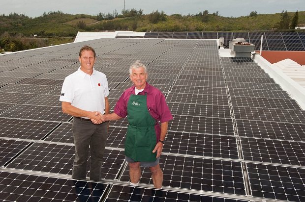 Bermuda's first commercial installation of a photovoltaic (PV) solar energy system at Lindo's Market in Devonshire -- Bernews.com