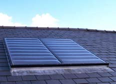 Solar water panel on roof